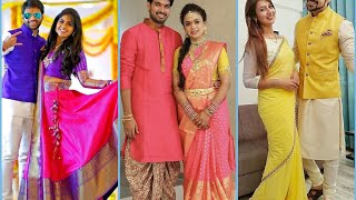Couples Matching Outfit Ideas For Karwa Chauth || Indian Engagement Couple Twinning Dresses
