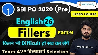 3:00 PM - SBI PO 2020 (Prelims) | English by Vishal Sir | Fillers (Part-9)