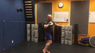 Exercise Tubing One Leg Elevated Press