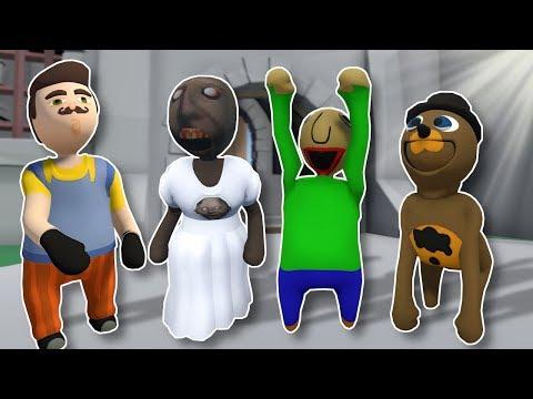 GRANNY & FRIENDS DEATH RUN?! - Human Fall Flat Gameplay