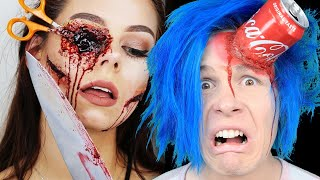 Trying 26 SCARY MOVIE HALLOWEEN MAKEUP FOR YOUR SFX LOOK By 5 MINUTE CRAFTS