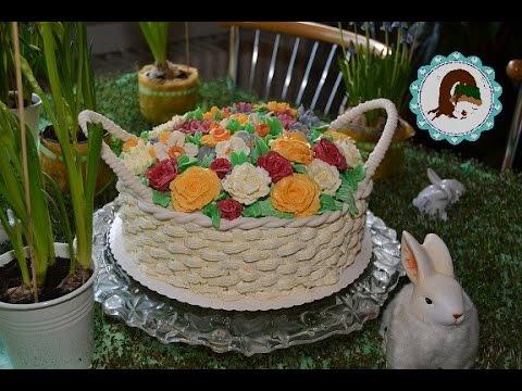 Blumenkorb Torte/ Buttercreme Blumen/ Motivtorten/ von Purzel-cake