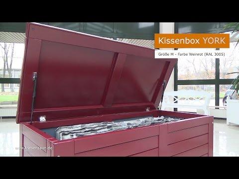 Gartentruhe Auflagenbox Kissentruhe YORK - FSC Hartholz lackiert - 3 Größen - 7 Farben