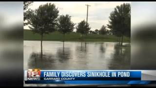 Sinkhole swallows pond in Lancaster, Kentucky