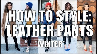 5 Ways to Wear LEATHER PANTS - Winter Outfit Ideas!! - by Orly Shani