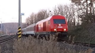 preview picture of video 'ÖBB 2016.004 Herkules snaking thru Devínska Nová Ves station @ REX2527 to Vienna, Austria'