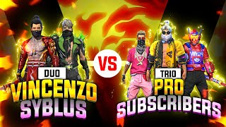 Vincenzo + Syblus 🔥 vs pro Subscribers challenge part -3 by Nonstop Gaming - Garena Free Fire