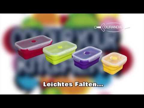Faltbare Frischhaltedose aus Silikon mit Deckel zusammenfaltbar - 01418