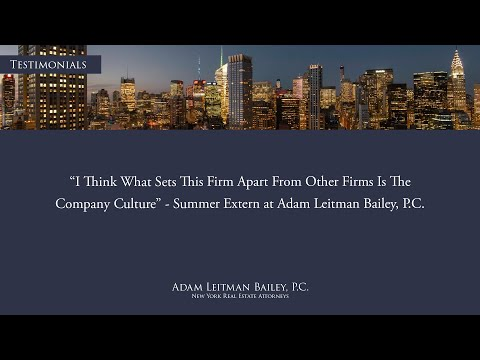 """""""I think what sets this firm apart from other firms is the company culture"""" – Externship Testimonial – Adam Leitman Bailey, P.C. testimonial video thumbnail"""