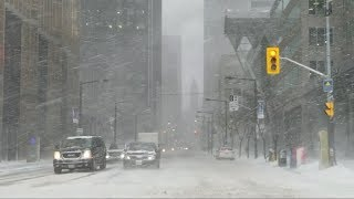 Today Winter Storm in Toronto downtown