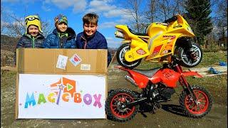 Funny MAGIC BOX Baby Ride on Dirt Cross Bike Power Wheel Pocket Bike Magic Hide and Seek
