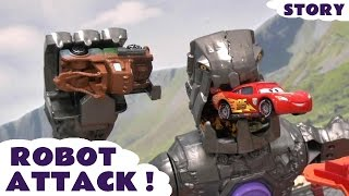 Disney Cars and Thomas & Friends Attacked by Hot Wheels Robot | TMNT Batman and Avengers Rescue
