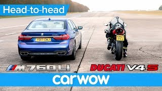 BMW M760 vs new Ducati Panigale V4 - DRAG RACE | Head-to-Head