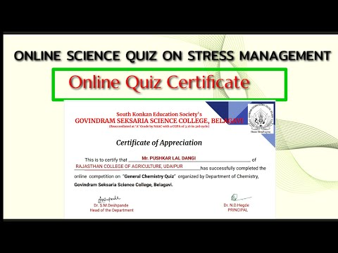 ONLINE SCIENCE QUIZ ON STRESS MANAGEMENT ... - YouTube