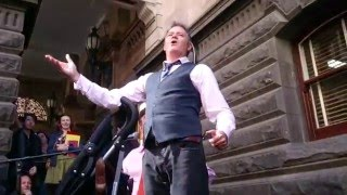 The Doug Anthony Allstars busking at Melbourne Town Hall - Sailor's Arms
