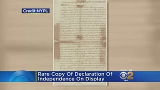 Rare Copy Of Declaration Of Independence On Display In NYC