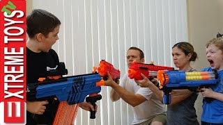 Ultimate Family Nerf Battle! Part 1. Ethan Attacks Cole, Mom, and Dad with Nerf Blasters!