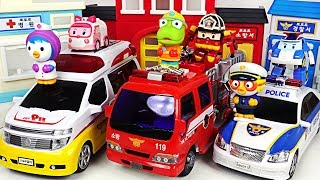Robocar Poli Police car, Ambulance, Fire Truck! Go! Defeat the villains with Pororo! #PinkyPopTOY