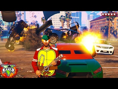GTA 5 NINJA TURTLES!!! - Teenage Mutant Ninja Turtles BASE ATTACK (GTA 5)