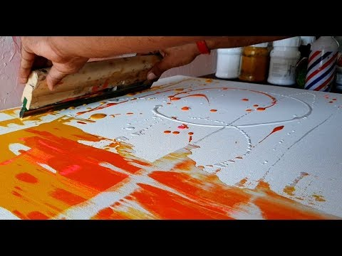 Easy Abstract Painting / Using Rubber Squeegee & Fluid Acrylics / Satisfying / DIY / Demonstration