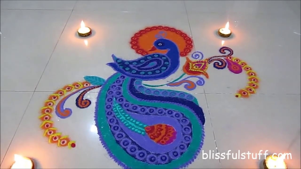 beautiful peacock rangoli design by poonam borkar