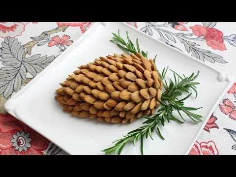 Holiday Pine Cone Cheese Ball – How to Make a Garlic & Herb Cheese Spread Pine Cone