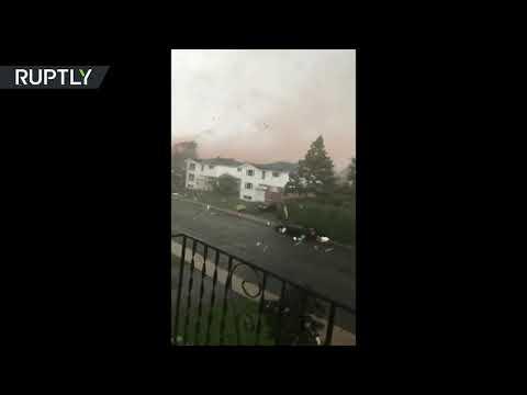 RAW: Moment powerful tornado rips through suburb in Ottawa, Canada