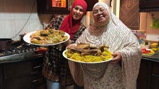 عزومة ماما بلبلة واول فطار من مطبخي/محشي مشكل/ رز بالكبد والقوانص والبط /عالم مروة