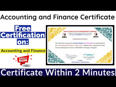 Accounting and Finance Free Certification | Free Certificate ...