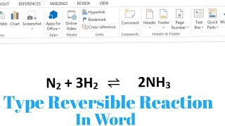 How To Type Reversible Chemical Reaction In Microsoft Word | How To Write Reversible Reaction Symbol