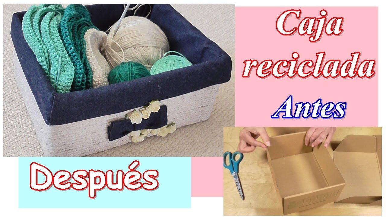 Cómo decorar una caja de cartón reciclada con cuerda y tela. Día de la Madre