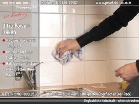 infactory Ultra-Power-Haken 18 kg mit Spezial-Saugnapf (4er-Pack)