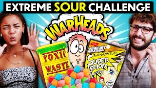 Trying And Ranking The Most Sour Food In The World! (Warheads, Toxic Waste, Super Lemon Candy)