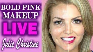 Bold Pink Lips. Rose Gold Eyeshadow. Hazel Eyes Medium Toned Skin Full Face Makeup Tutorial