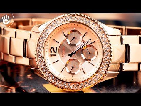 Review đồng hồ Fossil ES3590 dây kim loại màu vàng sang trọng và quý phái dành cho phái đẹp