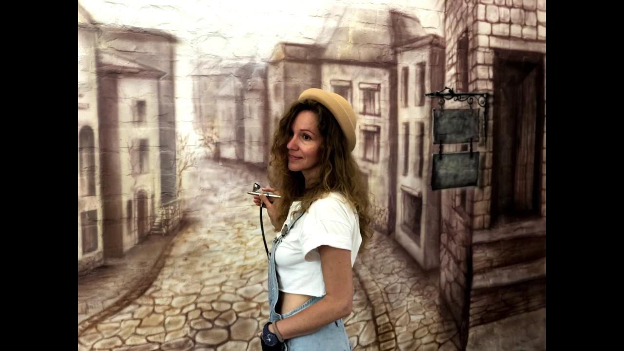 """Интерьерная роспись """"Итальянская улочка"""" в магазинчике La GAZZA."""