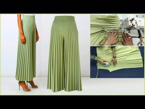 Pleated Palazzo Pant cutting and stitching