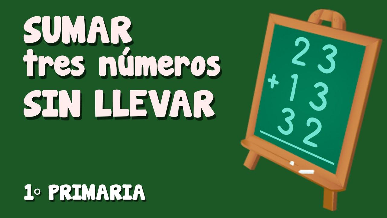 Suma vertical, sin  llevar,  de tres números para niños de Primaria (2/3)