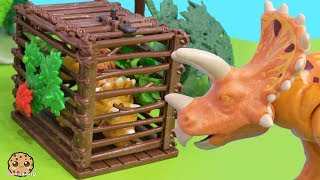 Baby Dinosaur Caught In Cage !  Shopkins + Playmobil Play Video
