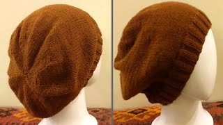 Knit A Slouchy Hat With Straight Needles | Knit Slouchy Beanie Hat With Written Instructions