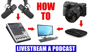 Podcast Livestream Setup [ How to Live Stream a 2 Person Podcast in OBS Tutorial ]