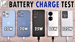 iPhone 13 Pro Max vs 12 Pro Max vs S21 Ultra vs Huawei P50 Pro vs Xiaomi Mix 4 Charging Speed Test