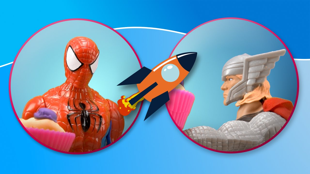 Spiderman y Thor visitan la confitería glasé de Play Doh