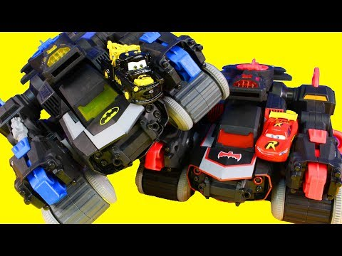 Cars 3 Lightning McQueen & Mater House Sit For Batman And Imaginext Batbot Battle Explosions