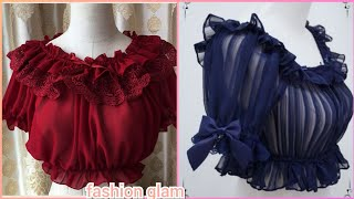 Gorgeous Lolita Inner Chiffon Blouse Styles With Puff Sleeves