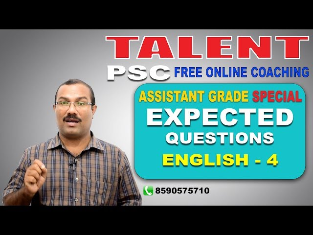 PSC | ASSISTANT GRADE SPECIAL | EXPECTED QUESTIONS | English- 4