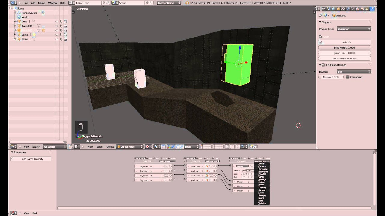 Character Physik - Blender 3D Game Engine Tutorial