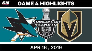 NHL Highlights | Sharks vs Golden Knights, Game 4 – April 16, 2019