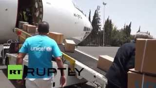 preview picture of video 'Yemen: UNICEF delivers supplies to Sanaa amid Saudi-led airstrikes'