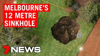 12-metre sinkhole opens up in Melbourne park | 7NEWS
